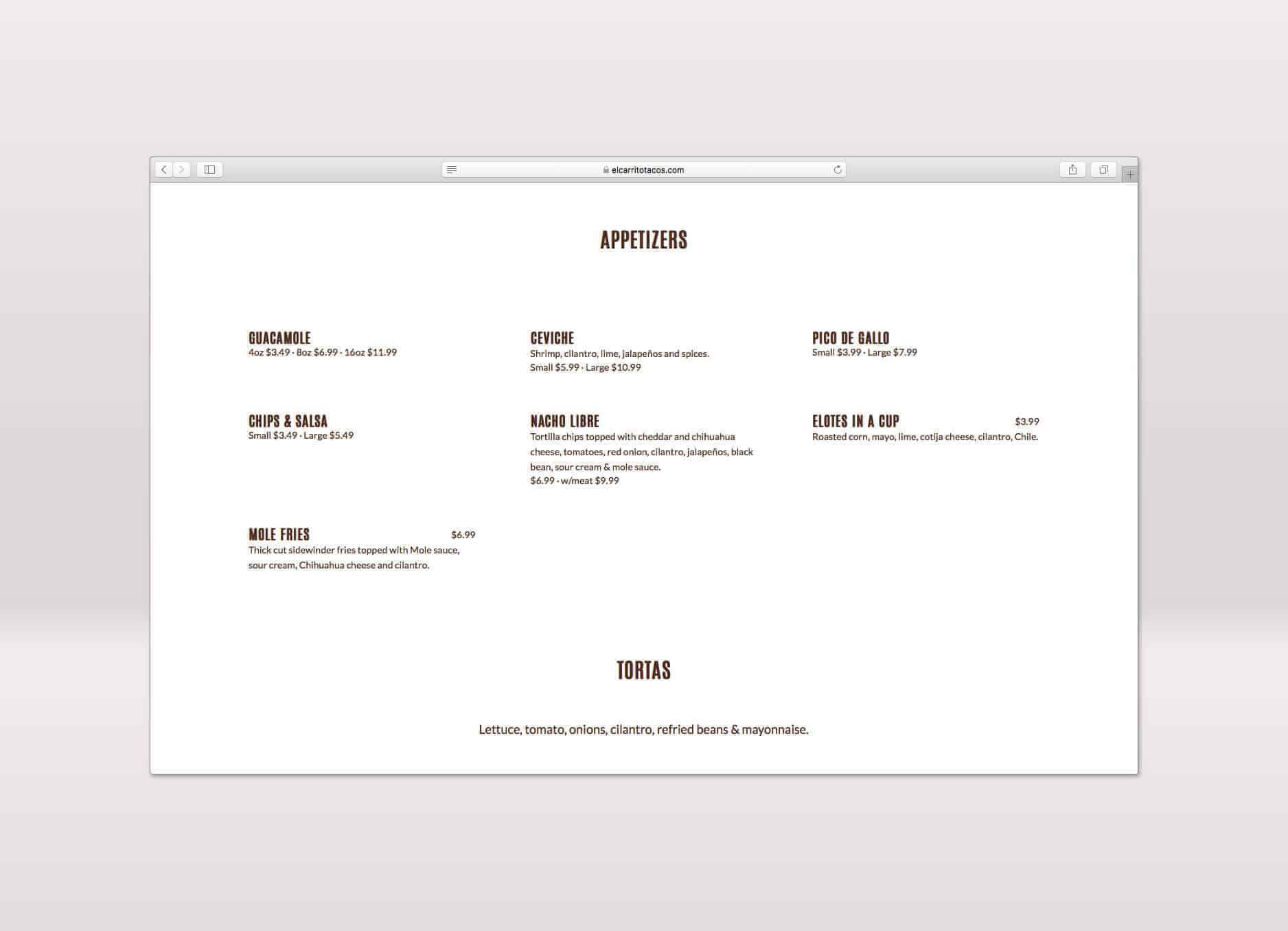 el carrito menu design