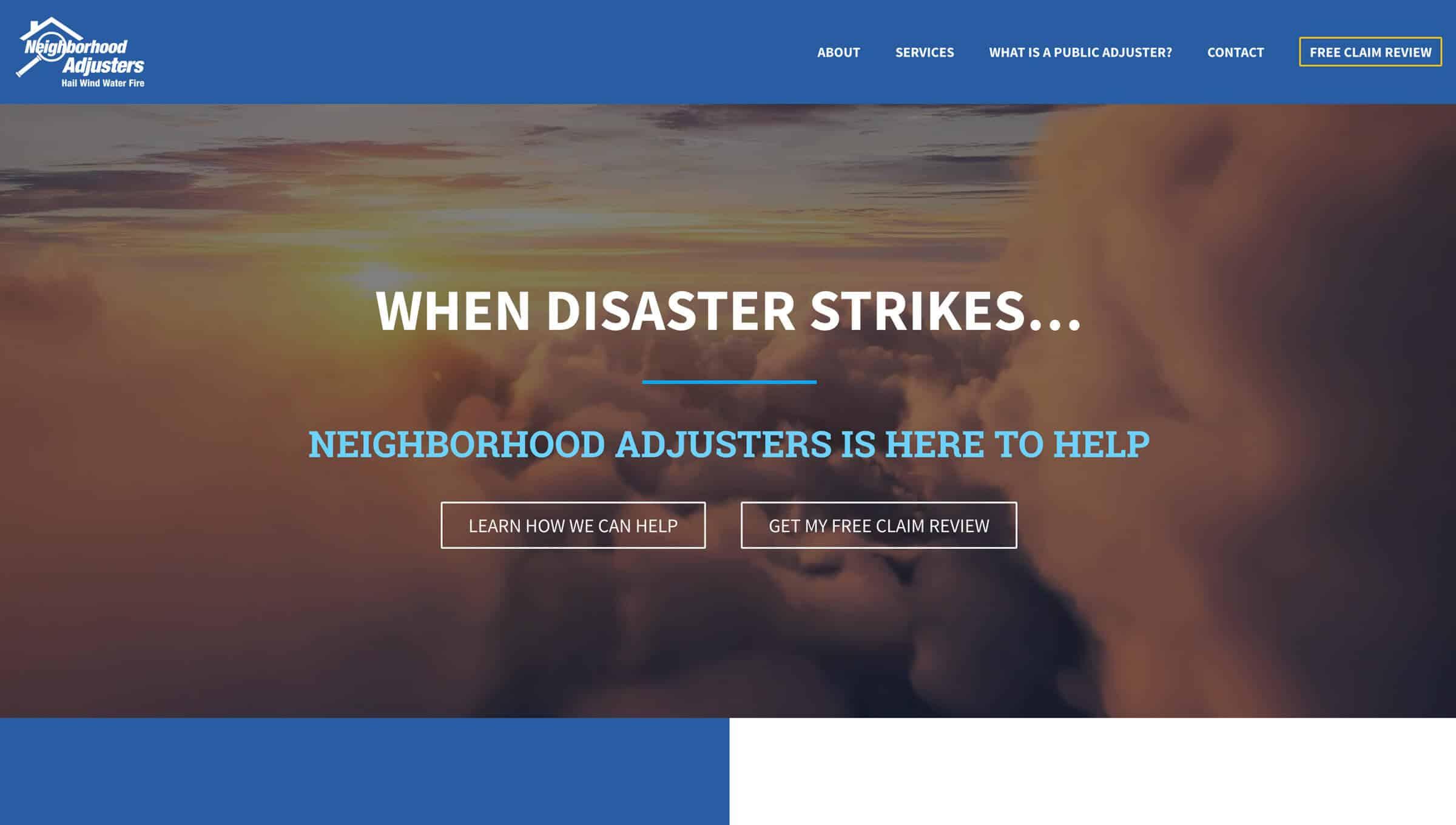 neighborhood adjusters homepage design