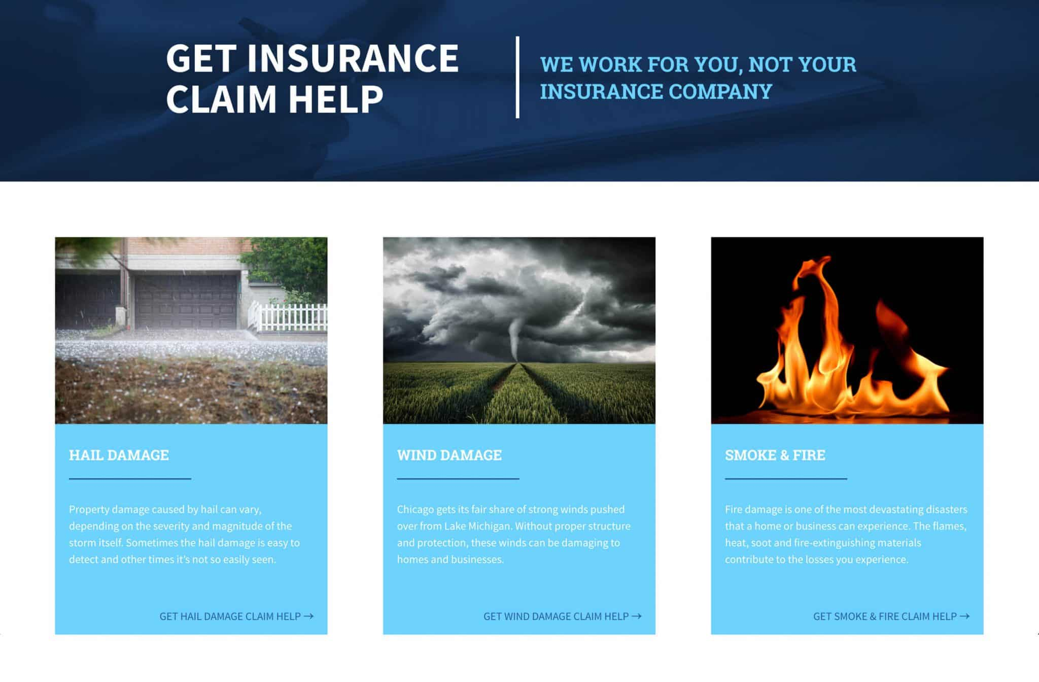 neighborhood adjusters service page design